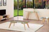 Table basse en verre avec des pattes en bois solide