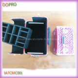 ピンクカラーシマウマは模造するヘアデザイナーの美のケースPUの構成のトロリー箱(SATCMC001)を