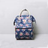 Deux tailles imperméabilisent les sacs à dos floraux bleu-foncé de Rose de toile de PVC (CK009-1)