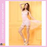 Женское бельё лифчика рождества износа ночи сексуальной белой вуали женское бельё Chemise шнурка подвязки флористической Bridal прозрачное