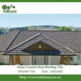 A folha de aço ondulada da telhadura com pedra revestiu (a telha de madeira)