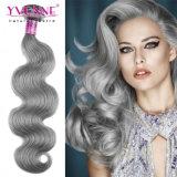 灰色のブラジルの人間の毛髪の織り方を着色しなさい