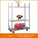 Carro móvil del transporte del estante del estante de visualización del metal de la flor/de la planta con las ruedas