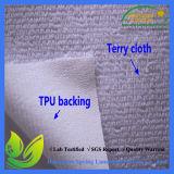 Branco 100% impermeável do plutônio do poliéster da tela da tampa do colchão