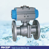Exxon Floating Type Flange Pneumatic Ball Valve in Stock