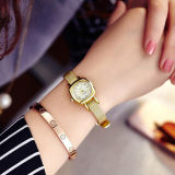 Vigilanza rotonda del braccialetto della maglia del metallo del quadrato dell'acciaio inossidabile delle donne dell'annata