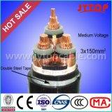câble d'alimentation blindé isolé par XLPE du fil d'acier 33kv avec 3 faisceaux