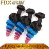 3つの調子の人間の毛髪の織り方100%のマレーシアの青い毛の拡張