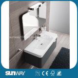 Установленная стеной самомоднейшая европейская тщета ванной комнаты конструкции с шкафом зеркала