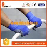 Голубые Nylon перчатки Dpu167 безопасности перчатки PU серого цвета