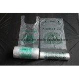 Bolso plástico de la camiseta del HDPE de la categoría alimenticia de la seguridad del diseño