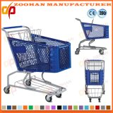 Вагонетка покупкы супермаркета металла провода компакта тележки бакалеи колеса (Zht213)