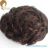 自然なヘアライン人間の毛髪の薄い皮のToupee