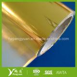熱絶縁体の表面仕上げのための金属で処理された金のヘアラインポリエステル・フィルム