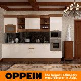 Gabinetes de cozinha da madeira contínua da laca de Oppein com console de canto (OP16-L01)