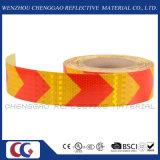 黄色および赤い矢は署名する手段(CG3500-AW)のための反射警告テープに