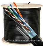 Cat5e, 350 MHz, blindado, Chaqueta UV, al aire libre, Messenger, 1000FT, Negro, el volumen de cables Ethernet LAN, carrete de madera