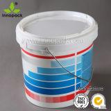 15L 뚜껑과 금속 손잡이를 가진 플라스틱 타원형 페인트 물통