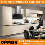 Oppein 2014 جديدة بيضاء الميلامين الأثاث الخشبي مطبخ