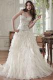 Perlando do corpete nupcial do laço do vestido de esfera de Tulle os vestidos de casamento frisados W16251