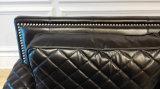 熱い販売の黒の本革2のシートのソファーはセットした(GLS-019)