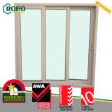 Cheap ventana deslizante PVC con vidrio-