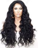 Afrouxar a peruca indiana do laço da peruca do cabelo humano do Virgin da onda
