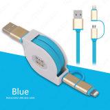 1m neue 2 in 1 einziehbarem Daten USB-Kabel