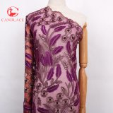 Disegno netto africano del tessuto del merletto di colore rosso di Candlace di alta qualità