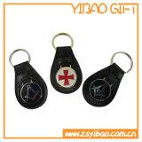 Metaal Keychain Leer van het bedrijfs van Giften past het Echte met Embleem (yb-k-002) aan