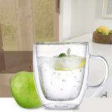 taza de café de cristal de la pared doble 150ml/350ml con el alto claro del Borosilicate de la maneta hecho a mano y Mouthblown