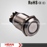 Hban 세륨 RoHS (19mm) 반지 Illumination Momentary Latching Vandalproof Push Button Switch