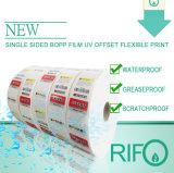Papier de roulis synthétique blanc résistant de l'eau Rpg-54 pour des étiquettes et des étiquettes