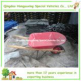 赤いカラー金属のバケツが付いている正方形の木のハンドルの手押し車