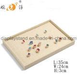 Exposição de linho bege da pulseira do anel do brinco da jóia (MT-052)