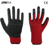 Les nitriles ont enduit les gants protecteurs de sûreté de travail d'interpréteur de commandes interactif de polyester (NS004)