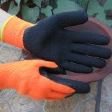 Guante de trabajo del látex de la construcción revestida termal de la palma