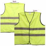 2 Taschen-grüne Sicherheits-Neonweste mit Medium-/hoch Sicht-Leuchtstoff gelbes Grün-reflektierender Sicherheits-Weste-Fabrik der Reflektorstreifen-ANSI/Isea