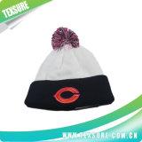 球の上(099)が付いているカスタマイズされた明白に編まれた冬の可逆帽子の帽子
