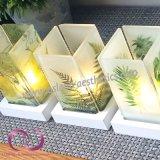 Suporte de vela de vidro romântico com base de madeira