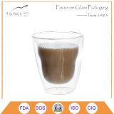 8,5 oz / 25 cl / 250ml hecha a mano la pared doble cristal de la taza de agua o café