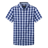 100%年の綿の糸の染められたフランネルの人の長い袖静かに堅い二重カラーワイシャツ