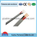De PVC d'isolation de matériau jumeau à plat et câble d'alimentation électrique de la terre