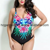 Крупноразмерный Swimsuit для женщин, износ заплывания Плюс-Размера цельный напечатанный