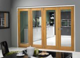 Puerta plegable de vidrio para exterior de madera