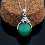 사슬을%s 가진 여자 925의 순은 자연적인 돌 녹색 마노 펀던트 목걸이