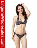Spiaggia Club Push su Halter Floral Print Bandeau Swimwear