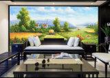 Belle peinture à l'huile impressionniste de décor de maison de chemin forestier de peinture de mur de paysage sur le paysage normal chinois de village de toile