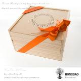 Couleur normale fabriquée à la main de Hongdao ou _E en bois gravé de boîte-cadeau de logo personnalisé par antiquité
