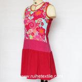 Ladiesのための袖なしのFashion Print Woven Dress